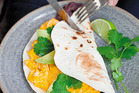 Baledas with black beans and silky scrambled eggs. Photo / Annabel Langbein Media