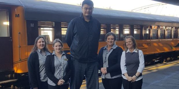 Former NBA player Yao Ming pays a visit to Dunedin Railway Station. Photo / Facebook