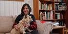 AUTHOR: Felicity Campbell and Tirran take a break from writing. PICTURE / PAUL BROOKS