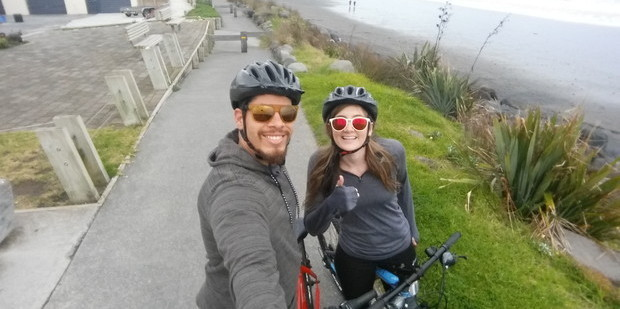 Taking a bike ride along the Coastal Walkway in New Plymouth. Photo / Alanah Eriksen