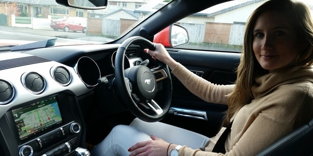 Alanah Eriksen behind the wheel of the new Ford Mustang GT Fastback. Photo / Alanah Eriksen