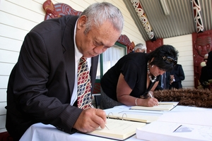 Napier man Tom Hemopo at the 2008 signing of the Napier health services settlement based on a Waitangi Tribunal Claim he and two others lodged on behalf of the people of Napier and surrounding areas 10 years earlier. Next week the tribunal hears his claim over alleged Crown failure to address Maori reoffending issues.