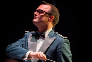 Band leader Flight Lieutenant Simon Brew is looking forward to wielding the baton in Napier. Photo / RNZAF