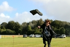 Hawera's Dale Goldfinch gives the gumboot throw a good go!