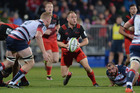 Andy Ellis of the Crusaders looks to pass the ball. Photo / Getty Images