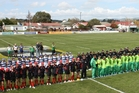 Ross Shield teams line up at Dannevirke's Rugby Park in 2011, when the tournament was last held in the town.