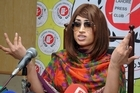 In this picture taken on June 28, 2016, Pakistani fashion model Qandeel Baloch speaks during a press conference in Lahore, Pakistan. Photo/AP