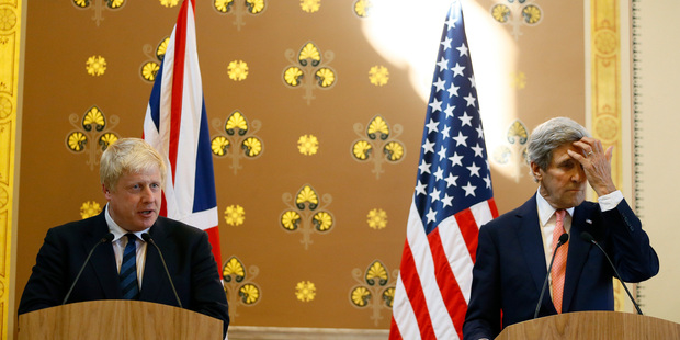 """It's called diplomacy,"" said US Secretary of State John Kerry, right, at a press conference with Britain's Foreign Secretary Boris Johnson in London. Photo / AP"