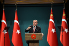 Turkey's President Recep Tayyip Erdogan speaks after an emergency meeting of the Government in Ankara. Photo / AP