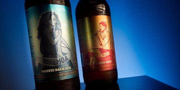 Loading Birkenhead Brewing Company's Hinemoa Pacific Pale Ale, left, and Mokoia Pilsner Beer. Photo / Stephen Parker