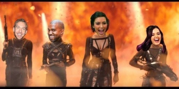 Loading One of the popular images spreading via the hashtag #KimExposedTaylorParty on Twitter shows Calvin Harris, Kanye West and Katy Perry as part of Kim Kardashian's squad. Photo /Twitter