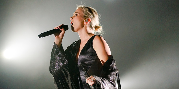 Georgia Nott from Broods performs at Vector Arena. Photo/Libel Music
