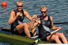 Eric Murray and Hamish Bond of New Zealand celebrate in their gold medal at the London 2012 Olympics.