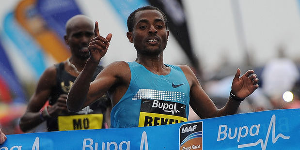 Kenenisa Bekele of Ethiopia reacts after winning the Great North Run. Photo / Getty Images