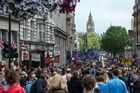 Protesters march down Whitehall as they take part in a March for Europe. Photo / Getty Images