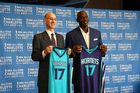 NBA Commissioner Adam Silver and Charlotte Hornets owner Michael Jordan pose for a picture as the Charlotte Hornets announce the 2017 All-Star game last year. Photo / Getty Images