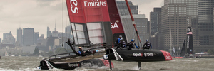 Emirates Team New Zealand during the Louis Vuitton America's Cup World Series New York. Photo / Getty Images