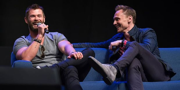 Actors Chris Hemsworth and Tom Hiddleston work together on the film Thor: Ragnarok. Photo / Getty Images