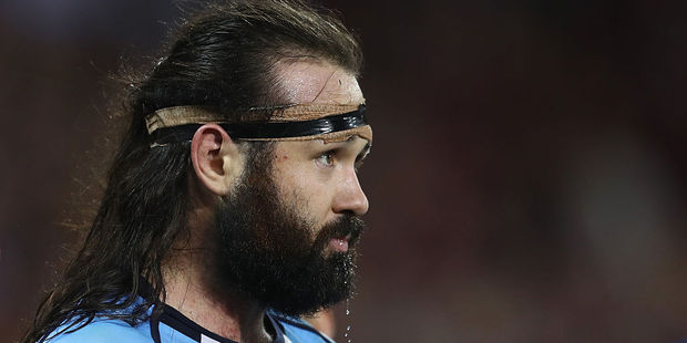 New South Wales prop Aaron Woods says people have not stopped talking about his spectacular failed try celebration. Photo / Getty Images