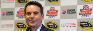 Former driver and TV analyst Jeff Gordon speaks to the media. Photo / Getty Images