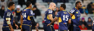 The Brumbies celebrate a try in their round 15 Super Rugby match. Photo / Getty