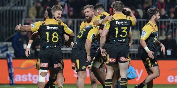The Hurricanes celebrate after their win over the Crusaders. Photo / Getty