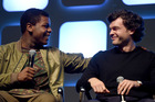 Star Wars actor John Boyega, left, with Alden Ehrenreich, who will play Han Solo in an origins movie about the intergalactic space smuggler. Photo/Getty