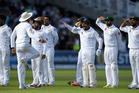 The Pakistan cricket team celebrate after winning a test match against England. Photo / Getty