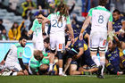 The controversial moment where Brumbies winger Lausii Taliauli is denied a try by referee Angus Gardner during the quarterfinal between the Brumbies and Highlanders. Photo / Getty Images