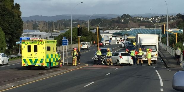Two cars collided at Waihi Rd this morning. Photo/George Novak