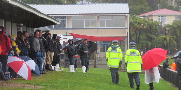 A solitary police patrol made a quick circuit to survey proceedings. Photo / Greymouth Star