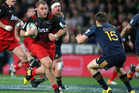 Owen Franks of the Crusaders on the charge during the round twelve Super Rugby match between the Highlanders and the Crusaders. Photo / Getty Images.
