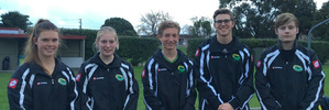 The Whanganui players selected to play for the Central teams at the national under 18 tournament. Emma Rainey, left, Joanna Bell, Joseph Redpath, Ryan Gray, Jordan Cohen.