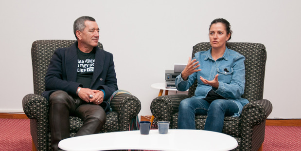 Film makers Tainui Stephens and Libby Hakaraia told tales and answered questions at the Puanga Pictures film festival on Sunday. PHOTO/LEWIS GARDINER