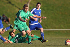 CLOSE TUSSLE: Otumoetai player Daniel Miller up against Rotorua United at Neil Hunt Park on Saturday. PHOTO/BEN FRASER