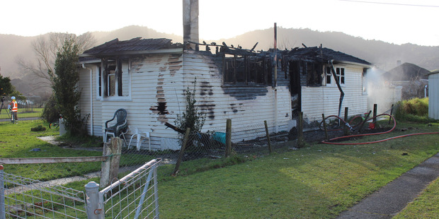 The Hopuhopu house, north of Ngaruawahia, was gutted by fire after an occupant left a pot of oil on the stove. Photo / Belinda Feek