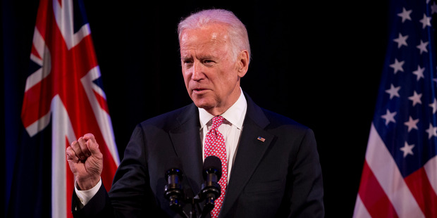 Vice President of the United States Joe Biden addresses guests at a Business reception at the Langham Hotel. Photo / Dean Purcell