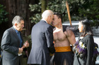 US Vice-President Joe Biden's receives a Hongi frrom a Maori Warrior after being greeted at Government House. Photo / Greg Bowker