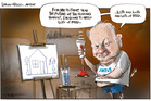 David Hisco, artist/ANZ CEO paints a very gloomy future of the housing market and the economy. Illustration / Rod Emmerson