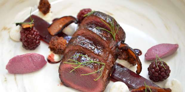 Joshua Ross's wild hare loin dish. Photo / Supplied