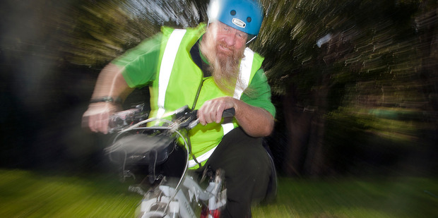 Noel Peterson speeds towards a healthier future on his battery assisted bicycle by bidding to become Tauranga's Mayor. PHOTO/ANDREW WARNER