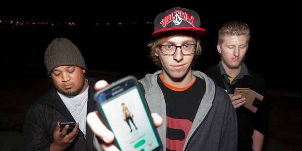Caymen Beeby is travelling the length of NZ catching pokemon. (l-r) Ce Crew, Caymen Beeby, and Lucas Finucane. PHOTO/ANDREW WARNER