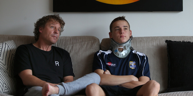 Loading Peter with Louis Grinrod, who is finally home after suffering a serious neck injury while playing rugby. Photo/John Borren