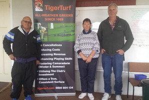 The winning team at the regional final of the 2016 TigerTurf tournament was Les Murcott, Dianne Patterson and Ray Savage.