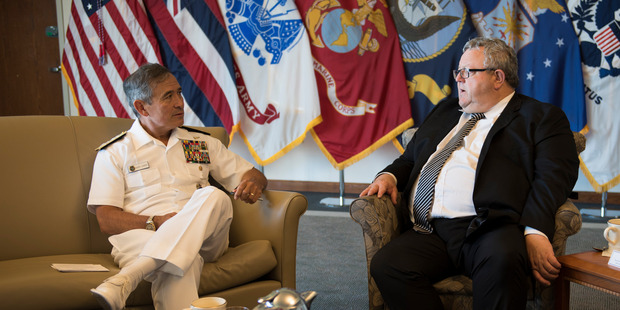 US Admiral Harry Harris and New Zealand Defence Minister Gerry Brownlee have expressed commitment to a strong partnership between the two countries. Photo / Supplied