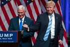 Donald Trump introduces Gov. Mike Pence, R-Ind., during a campaign event to announce Pence as the vice presidential running mate. Photo / AP