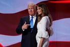 Donald Trump greets his wife Melania on stage at the RNC. Photo / AP