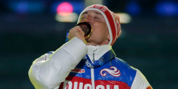 Russia's gold medal winner Alexander Legkov for the men's 50-kilometer cross-country race at the 2014 Winter Olympics. Photo / AP