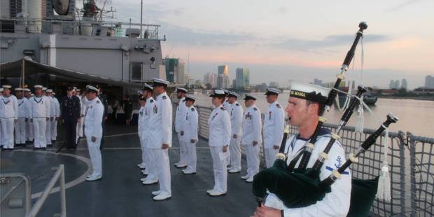 Bevan George leads the Anzac dawn service on board HMNZS Te Mana in Ho Chi Minh City. Photo/File