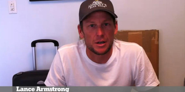 Cyclist Lance Armstrong appears in the video ' Christchurch Stay Strong '. Photo / File